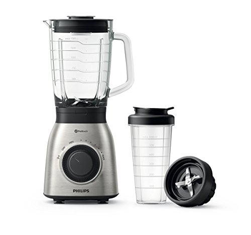 Philips HR3556/00 - Batidora de vaso, jarra de cristal de 2 L + Vaso On the GO, ProBlend 6, 900 W, acero inoxidable