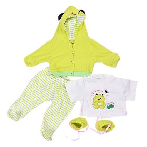 KEIUMI Vêtements de poupée pour 22-23 Pouces Reborn bébé garçon remplacer vêtements Costume Vert Grenouille Motif 5 en 1