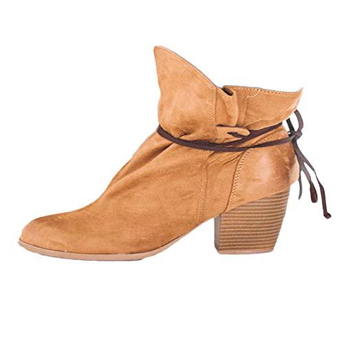 Yvelands Damen Stiefel, Retro Schuhe Lace-up Rutschfeste Dicke Ferse Round Toe Suede Short Martin Boot Stiefel Stiefeletten(40.5,Gelb)