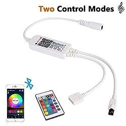 Bluetooth Controller, ALED LIGHT Bluetooth LED Streifen Licht Controller mit 24 Tasten IR Fernbedienung für RGB LED Strip LED Band Smart Phone APP Control Smart Controller für IOS und Android