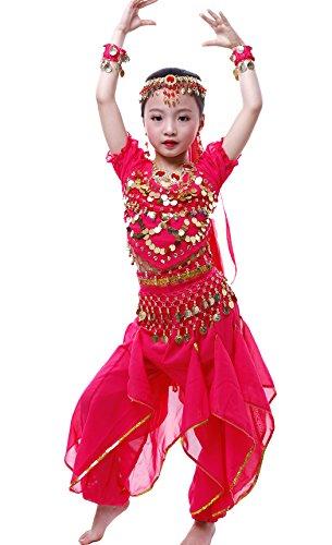 Mädchen Halloween Bauchtanz Kostüm Anzug Rose Red -