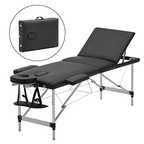 Meerveil mobile Massageliege klappbare Therapieliege tragbares Massagebett leichter Massagetisch 3 Zonen mit höhenverstellbaren Aluminiumfüße, Schwarz