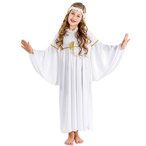 TecTake dressforfun Mädchenkostüm Weihnachtsengelchen mit Trompetenärmeln und elastischem Haarband (10-12 Jahre | Nr. 300429)