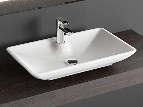 AQUA BAGNO Design Keramik Aufsatz Waschtisch KB.Leon.002 - Waschschale In 64,5x39,5 cm Aufsatzwaschbecken (Keramik-sortiment Whirlpool)