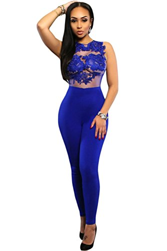 Damen Royal Blue Lace Aufnäher Jumpsuit Catsuit Clubwear Kleidung Größe M UK 10–12 EU (Royal Jumpsuit Blue Womens)