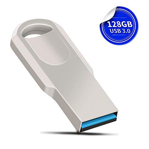 USB Stick 128GB USB Stick 3.0-Flash-Laufwerk Speicherstick Metall USB Sticks mit Verpackungsbox, Silber