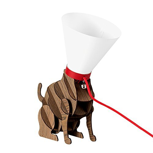 designer wood brown sitting cat with a red collar and lead silver bell and cone lamp head table light