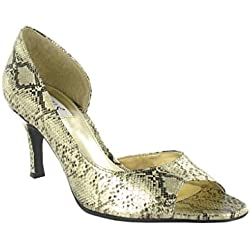 Ladies Metallic Snake Print Open Toe Shoe in Gold P.U.