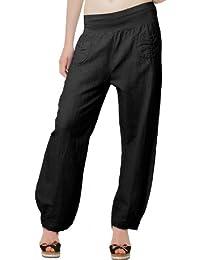 CASPAR KHS006 Pantalon léger large en lin pour femme - Pantalon en tissu avec large bande stretch à la taille - Taille S à XXXL