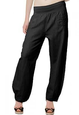 CASPAR KHS006 Pantalon léger large en lin pour femme - Pantalon en tissu avec large bande stretch à la taille - Taille S à XXXL, Couleur:noir;Taille:38 M UK10 US8