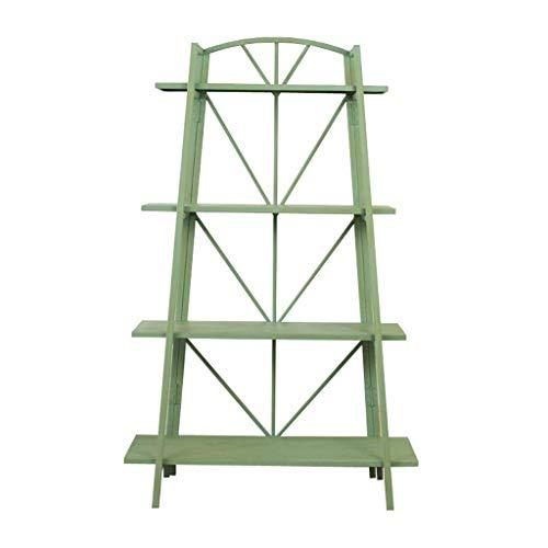 YINUO Im europäischen Stil amerikanische Country Vintage Schmiedeeisen vierschichtigen dekorativen Rahmen Shop Display dekorative Regal große Blumentopf Stehen grün Größe: 85x33x135cm