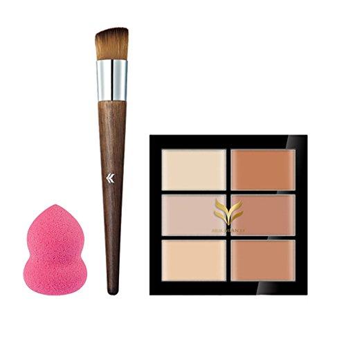 Sharplace 3pcs Palette de Maquillage Poudre Fond de Teint + Houppe Houppette à Poudre + Pinceau Cosmétique à Maquillage