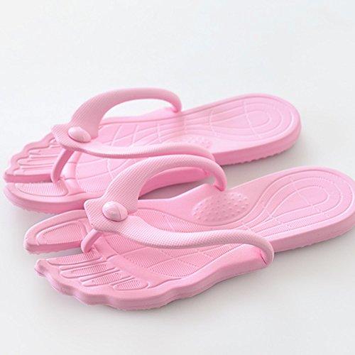 Confortevole Pantofole estraibili estive Trascinate i pantofole antisdrucciolevoli del pantofole Portable pattini di parola delle signore Le coppie fredde delle signore (2 colori opzionali) (formato f Rosa