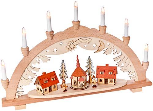 Unbekannt Sigro Vogtland Souvenir 7Flame Premium Holz Lichterbogen mit Seiffen Carving Figur Fenster selbst, beige, 38x 57x 9cm