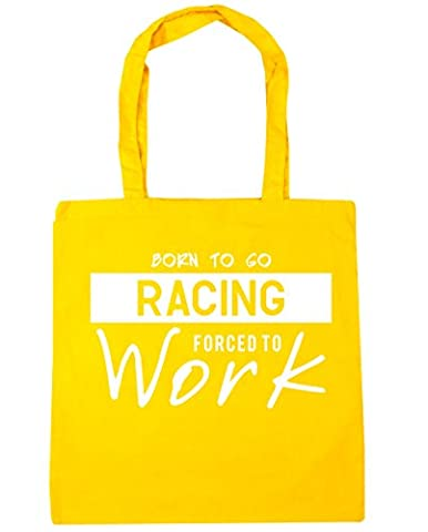 HippoWarehouse Born to Go Racing Forced to Work Tote Shopping Gym Beach Bag 42cm x38cm, 10 litres