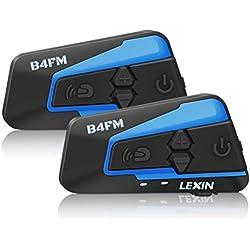 LEXIN 2X LX-B4FM Intercom Moto avec FM Radio, Écouteur Moto pour Casque, Headset Communication Systèmes Anti Bruit Jusqu'à 4 Motards Portée 1 Mile pour Casque Motocycle/Motocyclette