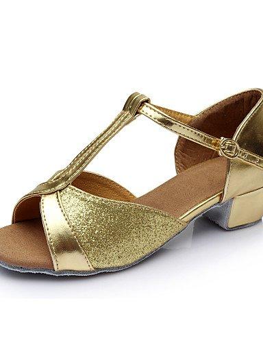 La mode moderne Sandales femme's Girl's Kids Chaussures de danse latin/Salsa/Samba/Satin 3,5 cm en simili cuir Talon plat (plus de couleurs) US8/EU39/UK6/CN39