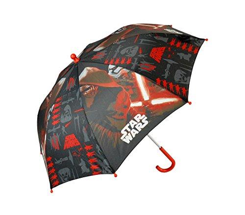 SWE7005 Paraguas 57cm para niño de STAR WARS rojo y negro