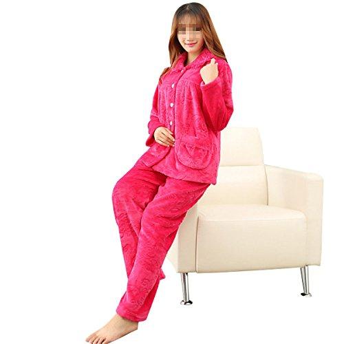 QPALZM Automne Et Hiver Flanelle Chaude Pyjama Impression Intérieure En Europe redgold