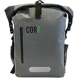 COR Surf Dry Bag Sac imperméable sac à dos étanche 40 l avec protection pour ordinateur portable et pour garder votre équipement électronique/sec dans les éléments (Gris, Unique Size)