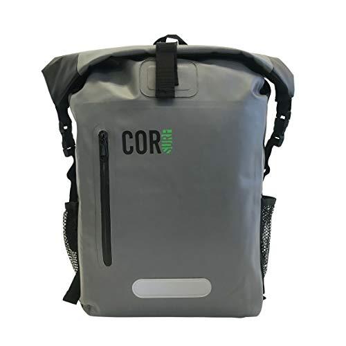 COR Zaino impermeabile da 25L con tasca imbottita per portatile, capacita' 25 litri, (Grigio e Verde) (40L, Grey)