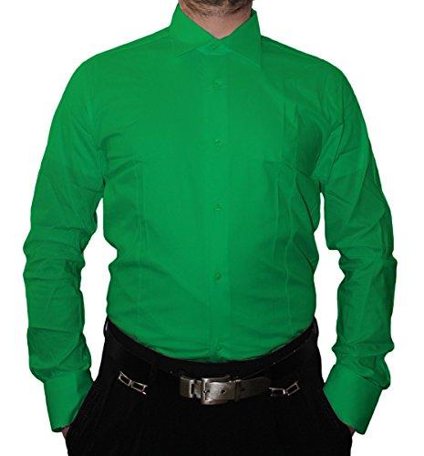 Designer Herren Hemd Slim Fit tailliert klassischer Kragen Langarm Bügelfrei viele Farben Slimfit Bodyfit Grün