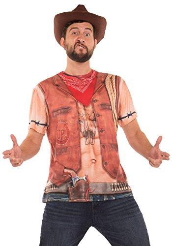FauxReal Herren Sexy Cowboy Printed T-Shirt Hemd, hautfarben, Groß