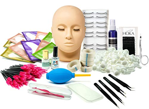 Extension Kit, Professional Mannequin Head Training For Beginners Eyelashes Extensions Practice Cosmetology Esthetician Supplies ()