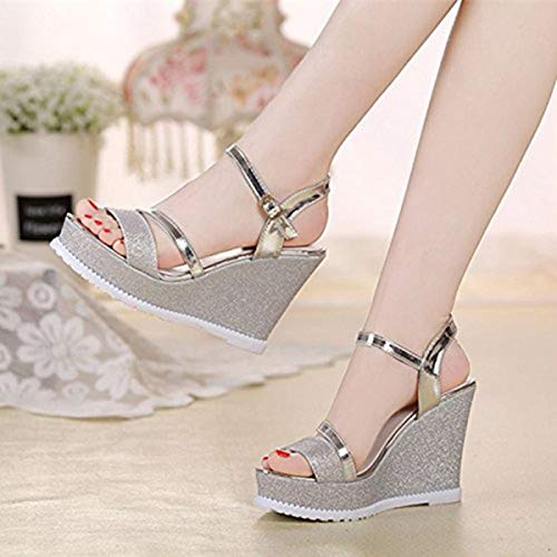 New Summer Wedge with high Heel Sandals Female Leather wild Sponge Cake Silver Waterproof Platform patent Leather Korean Women's Shoes Silver 35 Strappy Patent Platform Sandal