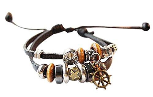 Set bestehend aus 2 lederne Charme-Armbänder Modeschmuck Armbänder, fünfzackigen Stern (Fan-charme-armband)