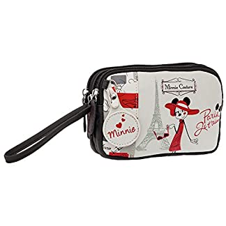 Disney Minnie Paris Neceser de Doble Compartimento, Color Blanco