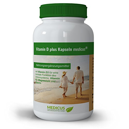 Vitamin D plus Kapseln medicus: mit Magnesium, Vitamin D3, Vitamin K2 & Piperin, Nahrungsergänzung, für Immunsystem & Stoffwechsel, 90 Kapseln