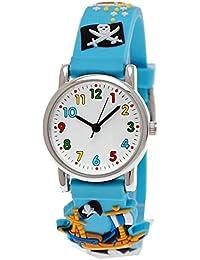 Pure Time® Kinder-Uhr Mädchen-Uhr für Kinder Jungen-Uhr Silikon-Kautschuk Armband-Uhr Uhr mit 3d Piraten Motiv Türkis Hell-Blau