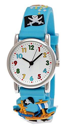 Pure Time® Kinder-Uhr Mädchen-Uhr für Kinder Jungen-Uhr Silikon-Kautschuk Armband-Uhr Uhr mit 3d Piraten Motiv Lern-Uhr Schul-Uhr Sport-Uhr Blau Hell-BLAU Schwarz Rot Grün (Hellblau) (Schwarzes Kunststoff-piraten-hut)