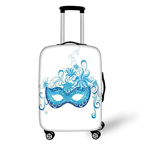 Suitcase Protector,Masquerade,Venetian Style Mask Majestic Impersonating Enjoying Halloween Night Theme,Blue and Sky Blue,for Travel L ()
