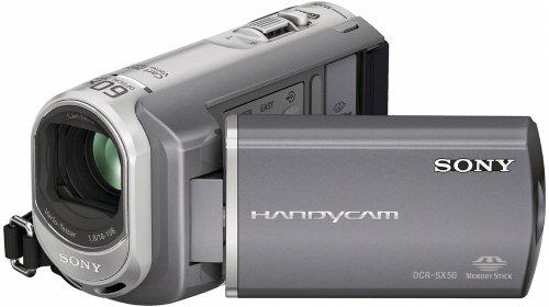 Sony DCR-SX50E SD-Camcorder (Memory Stick, 60-Fach optischer Zoom, 16 GB interner Speicher, 6,9 cm (2,7 Zoll) Display, Bildstabilisator, Touchscreen) Silber