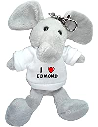 Elefante de peluche (llavero) con Amo Edmond en la camiseta (nombre de pila/apellido/apodo)