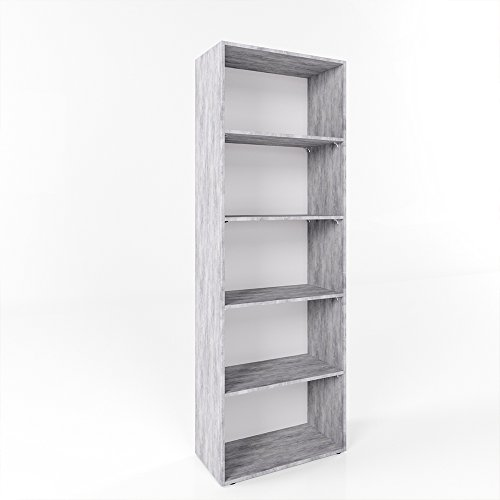 Bücherregal Regal Standregal Aktenregal Aktenschrank Bücher 190 x 60cm Holzregal Beton - 5 Fächer - SEHR STABIL - 16mm - Beton