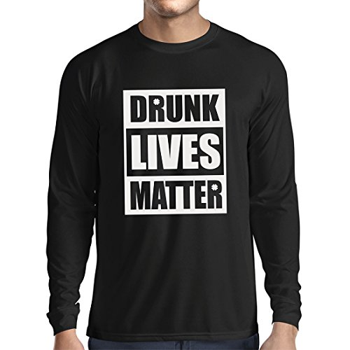 Life-musik Licht T-shirt (Langarm Herren t shirts Drunk Lives Matter funny Saint Patricks shirts, St Patty's day clothing (Small Schwarz Mehrfarben))