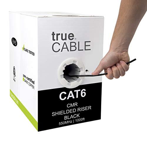 Cat6-riser (TrueCABLE Cat6-Riser (CMR), 300 m, 23 AWG Solid Blank-Kupfer, 550 MHz, ETL-gelistet, Gesamtfolienschirmung (FTP), Bulk Ethernet-Kabel Schwarz schwarz 1000ft)