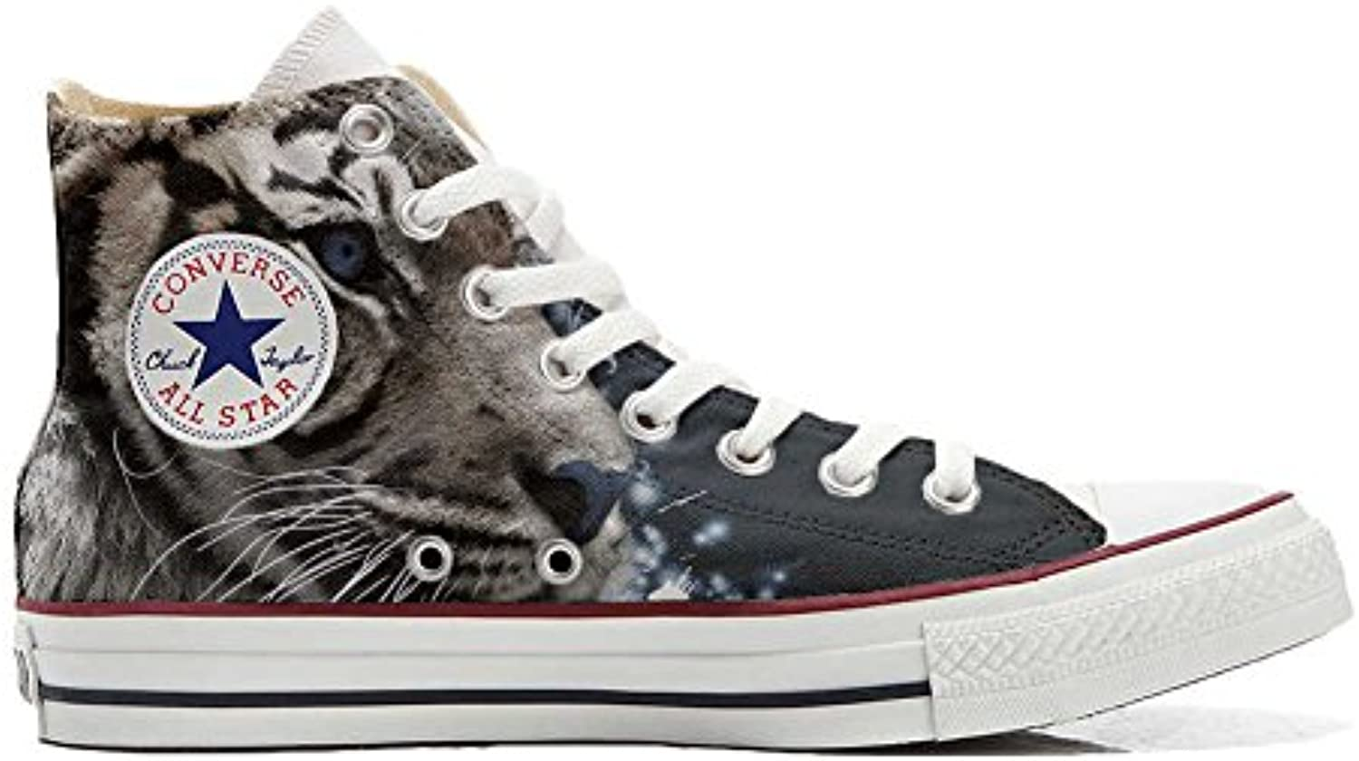 Converse All Star Personalisierte Schuhe   Handmade Shoes   mit Tigre BIANCA