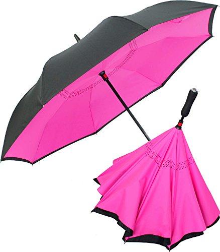 iX-brella Reverse - Regenschirm umgekehrt - umgedreht zu öffnen - schwarz-neon pink