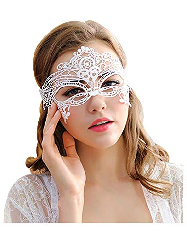 Fantecy 5 Stück Frauen Spitzen Maske Sexy Lady Schwarz Augenmaske Halloween Party Ball 5 Pack Spitze Pack weiß