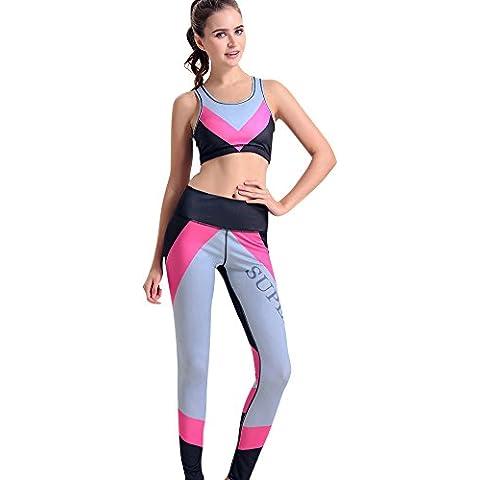 SaiDeng Mujeres Impreso Chaleco de Yoga Pantalones Conjuntos Estilo 11 S