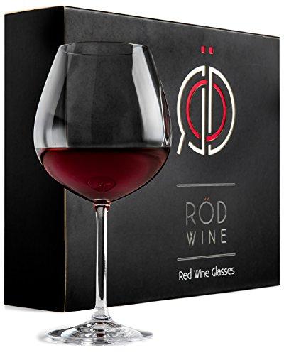 Verres à Vin Rouge en Cristal 650 ml – Grand Verres à Vins avec Long Pied (lot de 3)