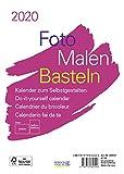 Foto-Malen-Basteln Bastelkalender A5 weiß 2020: Fotokalender zum Selbstgestalten. Aufstellbarer do-it-yourself Kalender mit festem Fotokarton. -