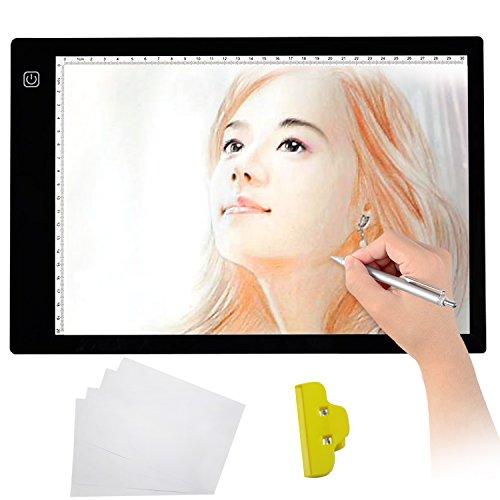 KIPTOP LED Zeichenbrett A4 LED Leuchttisch LED Malen Platten LED Zeichnen Pad (TYPE 2 Professional Edition)