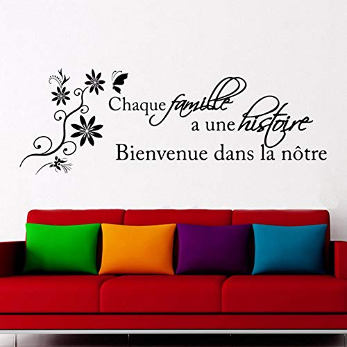 Pbldb 58X21Cm Französisch Zitate Aufkleber Für Wohnzimmer Zitate