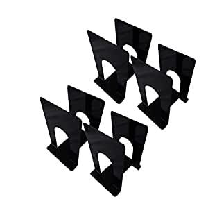 APPUCOCO MS Metal Bookend for Office - 8 Per Pack (Black)