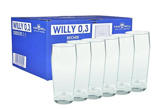 6er Set Bierglas Willibecher 0,3L mit Eichstrich